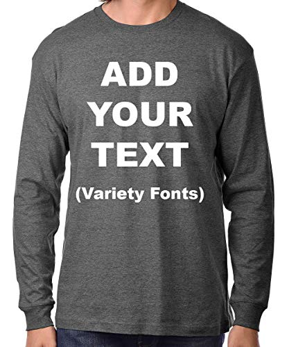 Custom Long Sleeve Premium t Shirts Add Your Own Text for Men & Women Unisex Cotton [ Charcoal / 2XL ] Custom Long Sleeve Tee