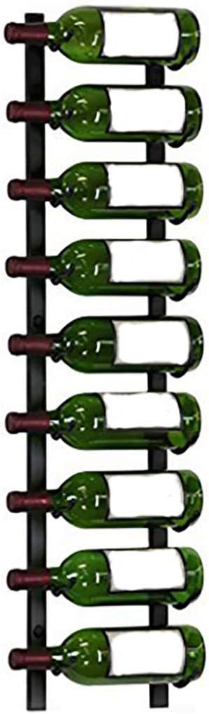 Soporte de pared para botellas de vino montado en la pared, soporte de metal para colgar botellas de vino para colgar en la pared, estante para botellas de vino, soporte de pared para el hogar (negro)