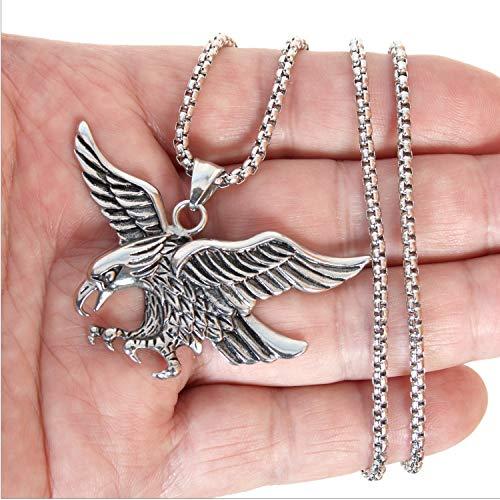 XZEGL Men's Necklace Titanium Steel White Head Sea Eagle Pendant Cool Style Couple Chain