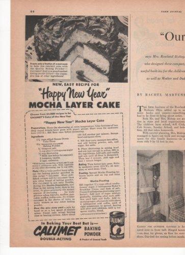 Calumet Baking Powder Mocha Layer Cake Recipe 1951 Farm Antique Advertisement