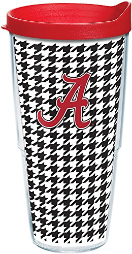 Tervis 1082468 Alabama Crimson Tide Houndstooth Tumbler with Wrap and Red Lid 24oz, Clear
