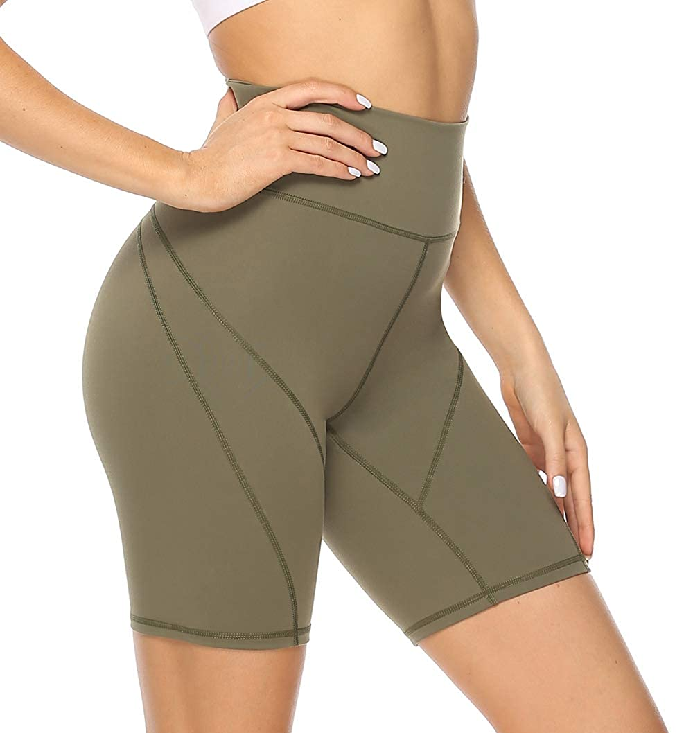 Hessimy Womens High Waisted Yoga Shorts Sports Gym Ruched Butt Lifting Workout Running Hot Leggings