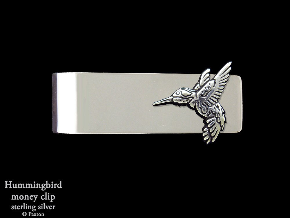 Hummingbird Money Clip in Solid Sterling Silver Hand Carved, Cast & Fabricated by Paxton