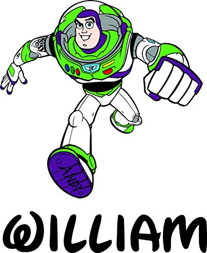 Custom Names Personalized Name Buzz Lightyear Toy Story Animated Movie Pixar Disney Wall Decals for Kids Bedroom/Boys Wall Decor Vinyl Sticker Art/Size 20x20 inch