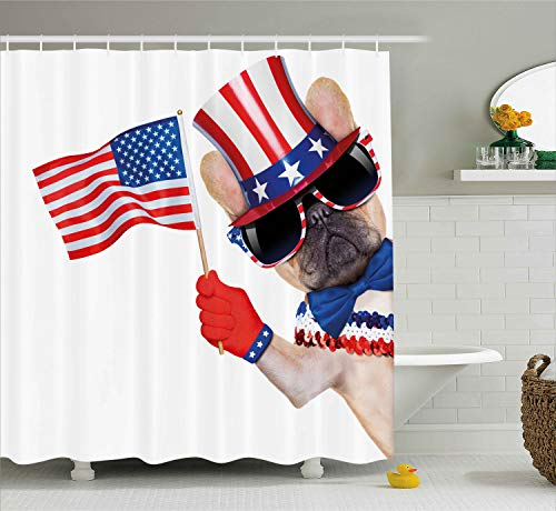 Ambesonne 4th of July Shower Curtain, Pug Dog Wearing Patriotic Accessories and Waving The Flag Celebration Image, Cloth Fabric Bathroom Decor Set with Hooks, 70