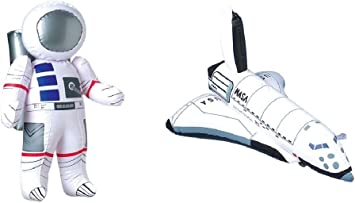 Inflatable Rocket BIRTHDY Party Decor//Science 3 Outer Space Party Decorations Astronaut /& Space Shuttle Inflate Toys
