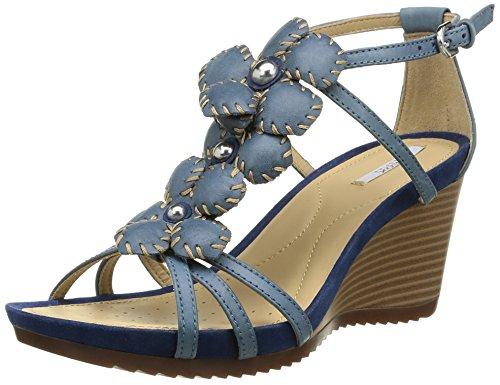 Geox Women's D New Roxy 18 Wedge Sandal, Denim, 38 EU/8 M US