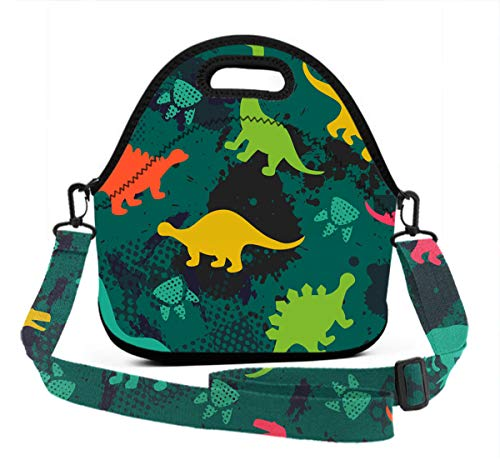 Lunch Bag - Animal Dinosaur Green Camo - Neoprene Reusable Lunch Tote with 3D Digital Print Adjustable Shoulder Straps, Lunch Box Handbag for Kids and Adults