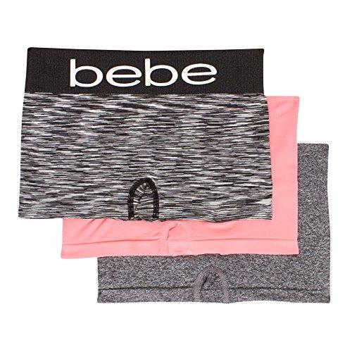bebe Womens 3 Pack Seamless Boyshort Underwear Wide Elastic Waistband Panties Black Spacedye/Peach/Dark Grey Large (Womens Boyshort Printed Underwear)