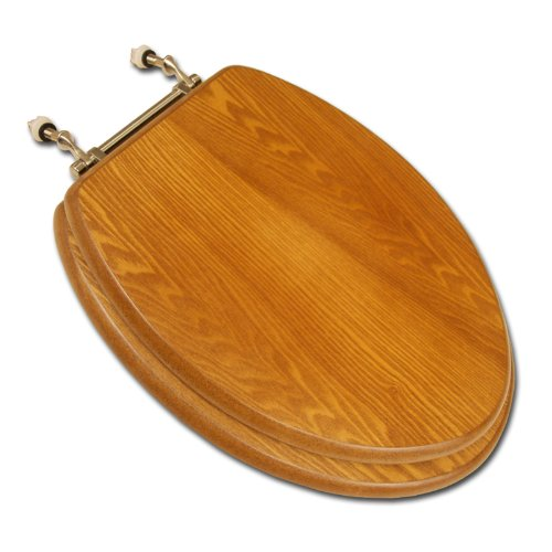 on sale Bath Décor 5F1E2-17CH Elongated Toilet Seat in Traditional Design with Chrome Metal Hinges, Natural Oak Finish