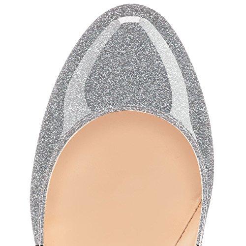 da Scarpe Heels Soireelady donna High 12CM Glitter Tacco col Chiuse Scarpe Classico Argento Davanti zqUUar5w