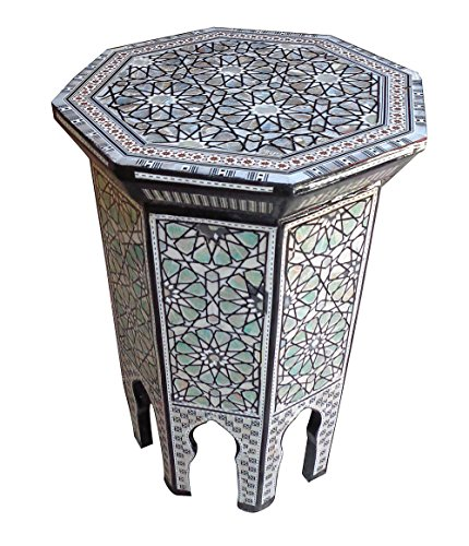 Mother Of Pearl Egyptian Corner Wood Octagonal Table Black End -