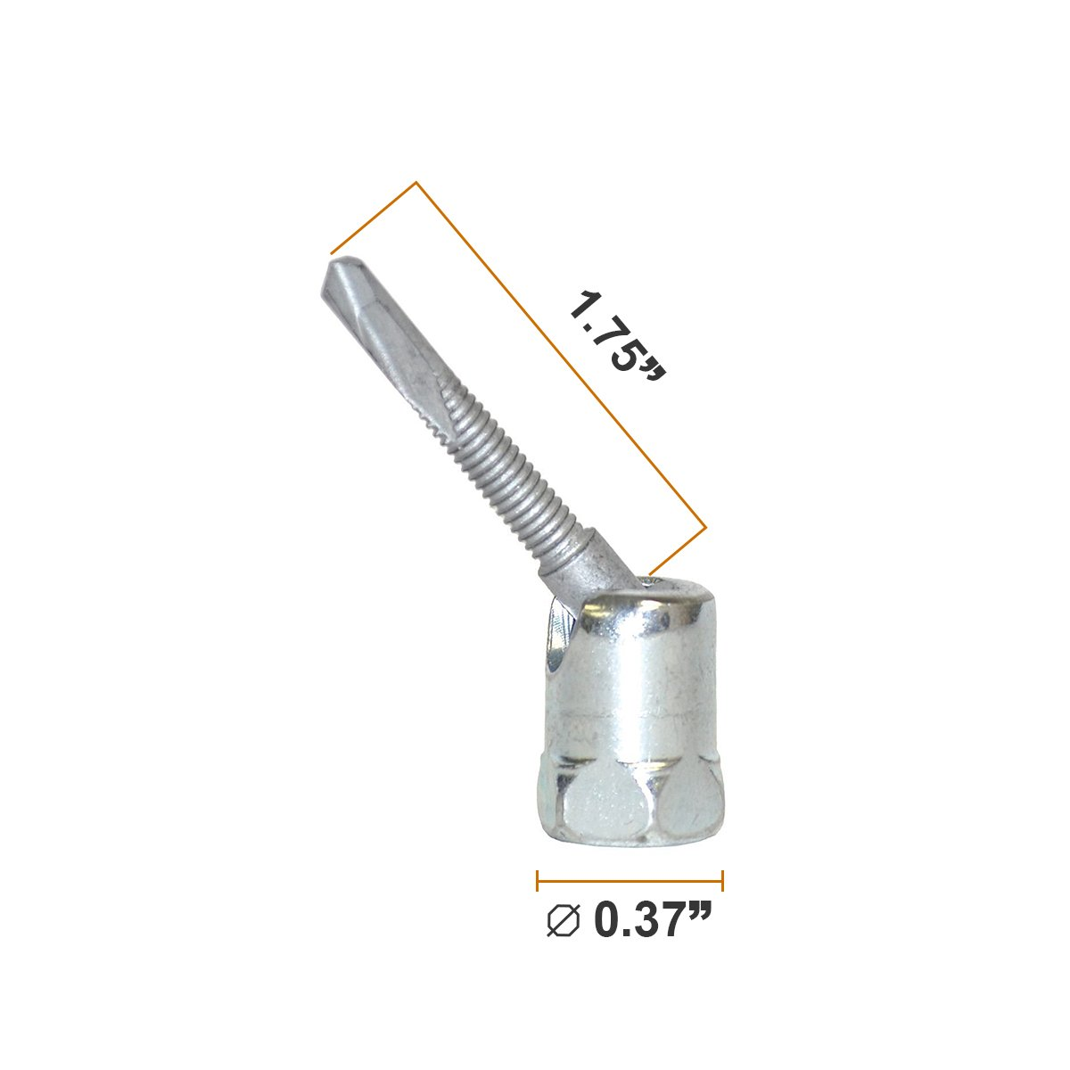 Steel Electro-Zinc Finish - Installs Vertically /& Swivels up to 17 Degree No-Predrilling Required Pack of 50 Everflow Sammys 8268957-50 SH-TEK 5.0 3//8 inch Screw Swivel Head Designed for Steel Everflow Supplies