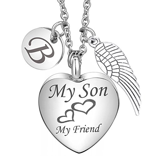 Charms Additional Initial (Cremation Urn Necklace My Son My Friend Angel Wing Charms 26 Initial Letter Alphabet B Memorial Keepsake Pendant Ash Jewelry)