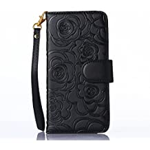 Fashion Handbag with Detachable Hand Strap Protection Shin for iphone6 case cover,Lovely Wallet Stand with Credit ID Card cash slot Holders (Black)