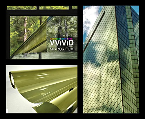 One-Way Gold Mirror Finish Vinyl Window Wrap Film Self-Adhesive DIY Large Roll (30ft x 5ft) by VViViD
