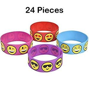 Rubber Wristband- 24 Piece Cute Emoji Smiley Face Emotion, Silicone Bracelet For Kids, Party Favor, To Keep Or To Trade, Carnival, Summer Camp Program, Assorted Brilliant Colors - By Kidsco