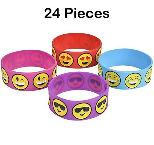 Rubber Wristband- 24 Piece Cute Emoji Smiley Face Emotion, Silicone Bracelet For Kids, Party Favor, To Keep Or To Trade, Carnival, Summer Camp Program, Assorted Brilliant Colors - By - Face With Sunglasses Smiling