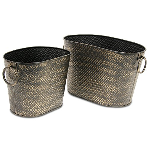 Pilgrim Home and Hearth 19404 Harvest Wood Holder Set of 2, Weathered Bronze, 2 Piece