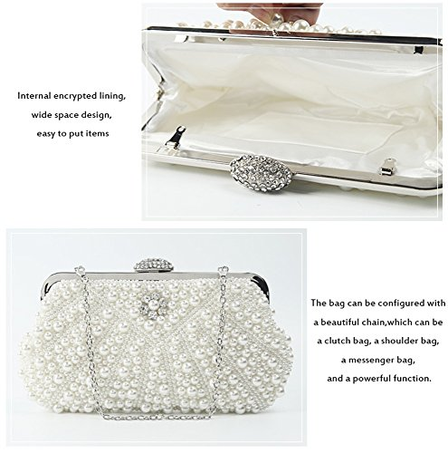 Bag Wrist Vintage Small Llxy Beads With Shoulder Evening Bag White Hand Handmade Bags Women Crossed Evxdqx