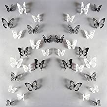 Scorpiuse 36PCS 3D Butterfly Wall Stickers Decals DIY Home Decor (Black & White)