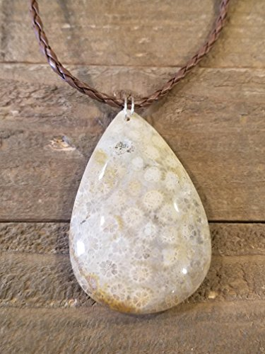 Fossil Flower Crystal Gem Stone Pendant Necklace Rustic Outdoor Earth Jewelry Nature Hippie Boho Art (N219) (Stone Fossil Necklace)