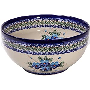 Polish Pottery Ceramika Boleslawiec, 0411/162, Bowl 23, 10 Cups, Royal Blue Patterns with Blue Pansy Flower Motif