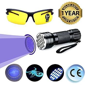UV Black Light Flashlight LED Ultraviolet Light Pets Urine Odor Stain Bed Bug Detector Super Bright Handheld Dog Cat Dry Wet Pee On Carpet Finder Remover Portable Safety Glasses