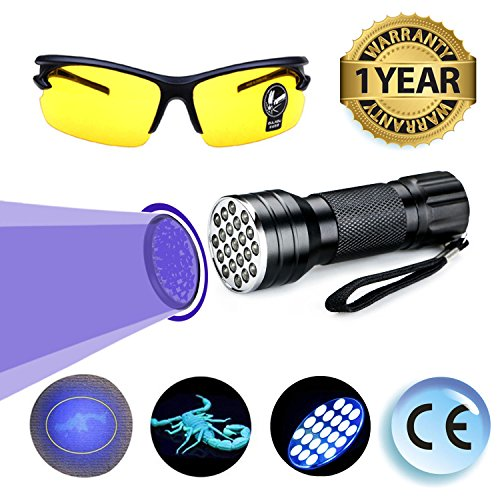 UV Black Light Flashlight LED Ultraviolet Light Pets Urine Odor Stain Bed Bug Detector Super Bright Handheld Dog Cat Dry Wet Pee On Carpet Finder Remover Portable Safety Glasses