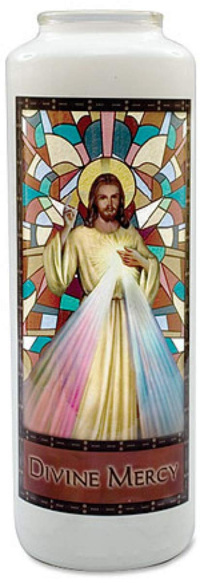 Religious Candle Jesus Christ Divine Mercy Stained Glass Gleamlights