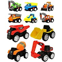 FunBlast Unbreakable Pull Back Vehicles  Construction Mini Power Friction Trucks for 3+ Years Old Boys Girls. (Set of 10)