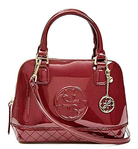 Guess Amy Shine Patent Small Dome Satchel Bag Purse Handbag, Wine