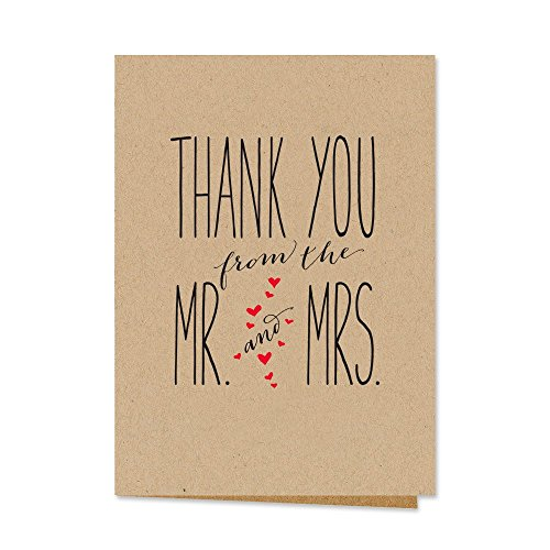 Canopy Street Mr. and Mrs. Thank You Notecards, Blank Inside with Kraft Envelopes, Set of 36 (Wedding Thank You Wording)