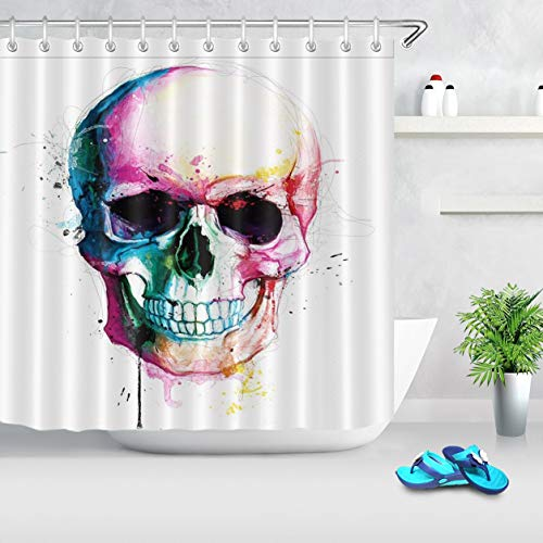 LB Colorful Halloween Skull Shower Curtains Skeleton Scary Eyes Fabric Bathroom Curtains 72x72 inch Polyester Fabric Waterproof with Hooks]()