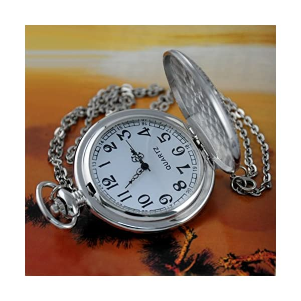 VIGOROSO Quartz Beautiful Peony Bird Enamel Painting Steampunk Silver Pocket Watches Gift Box 5