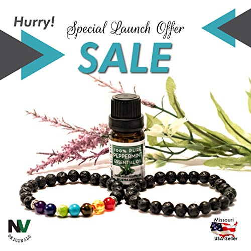 Tiger Bracelet Set (NV Originals 2 Aromatherapy Bracelet Diffusers Gift Set (Lava Stones with Chakra Bracelet & All Black Lava Stones Bracelet) with10ml Peppermint Essential Oil)