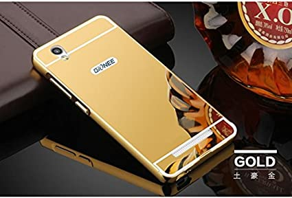 factory price a62e0 57c2d joshi Metal with Plastic Gionee F103 Elegant Aluminum Frame Acrylic Mirror  Back Cover (Gold)