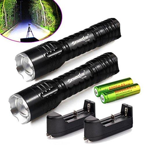 covermason Torche LED Rechargeable, 6000LM Zoom lampe de poche LED (Un ensemble complet avec 2pcs lampe de poche, la 2pcs 18650 batterie et 2pcs chargeur)