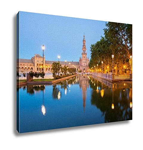 Ashley Canvas, Spanish Square Espana Plaza In Sevilla Spain At Dusk, Home Decoration Office, Ready to Hang, 20x25, AG5816623 by Ashley Canvas