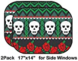 Liili Car Sun Shade for Side Rear Window Blocks UV Ray Sunlight Heat - Protect Baby and Pet - 2 Pack Image ID: 15534129 Mexican Folk Art Skulls and Roses Pattern