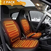 Tvird Car Heated Seat Cushion 12V Auto Comfortable 2 Pack New Upgraded Version for Winter in 2019 (Black)