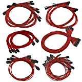 EVGA G2/G3/P2/T2  100-CR-1300-B9 Power Supply Cable Set (Individually Sleeved), Red
