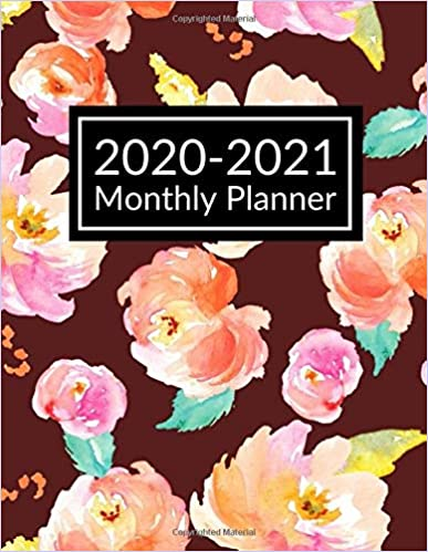 2020-2021 Monthly Planner: Floral Cover Red Color 2 Year Monthly Planner Calendar Jan 2020 - Dec 2021 (24 Months) Size 8.5 x 11 Inches