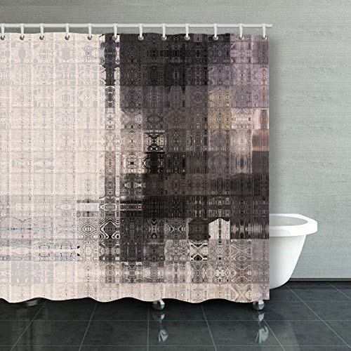 Shower Curtain Art Abstract Geometric Pattern Tiled Monochrome Backgrounds Gift Ideas Polyester Fabric Hooks Included 66 X 72 Inch