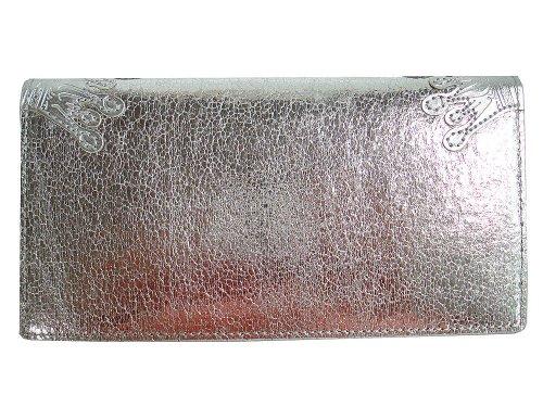 New Christian Audigier Hardy Women's Checkbook Wallet - Cracked Silver