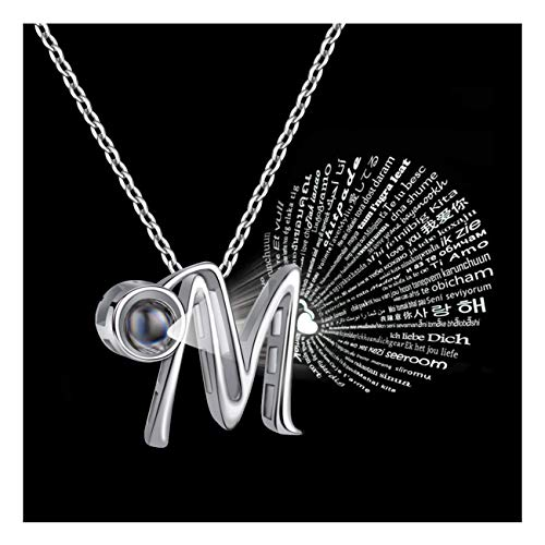 Forevereally Initial Necklace 100 Languages I Love You A to Z 26 Letters Alphabet Pendant Necklace Personalized for Women -