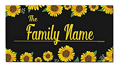 Family Name Doormat Custom Text Sunflower Border Welcome Mat New Homeowner Gift Personalized Doormat