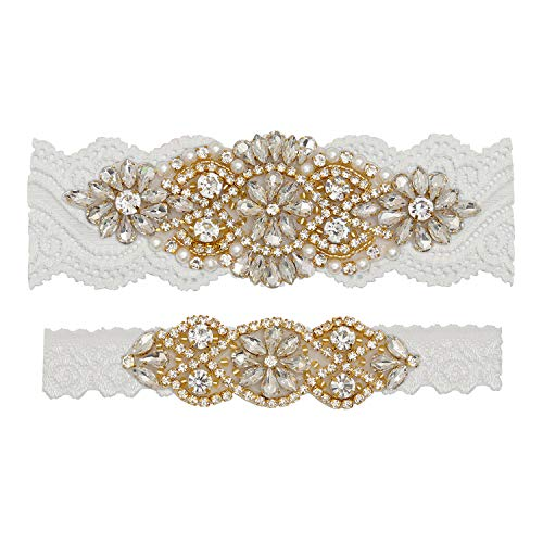 (Yanstar Wedding Bridal Garter Off-White Stretch Lace Bridal Garter Sets With Gold Rhinestones Clear Crystal Pearl For)