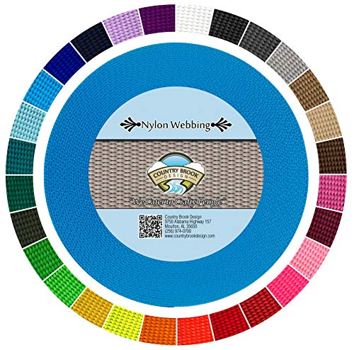 Webbing Yard - Country Brook Design | Durable 1 Inch Heavy Nylon Webbing | 29 Vibrant Colors (Ice Blue, 10 Yards)