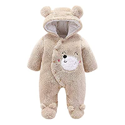 Sunhusing Infant Baby Girls Boys Fluffy Long Sleeve Cute Ear Hooded Jumpsuit Romper Outfits Clothes Beige